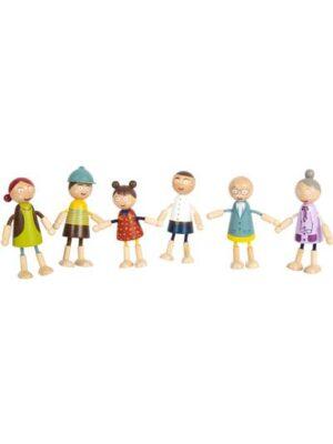 Drevené postavičky - rodina so starými rodičmi